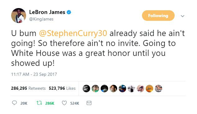 Lebron James supported Curry and added :