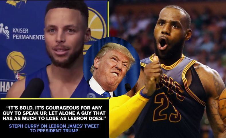 Stephen curry lebron james trump nfl